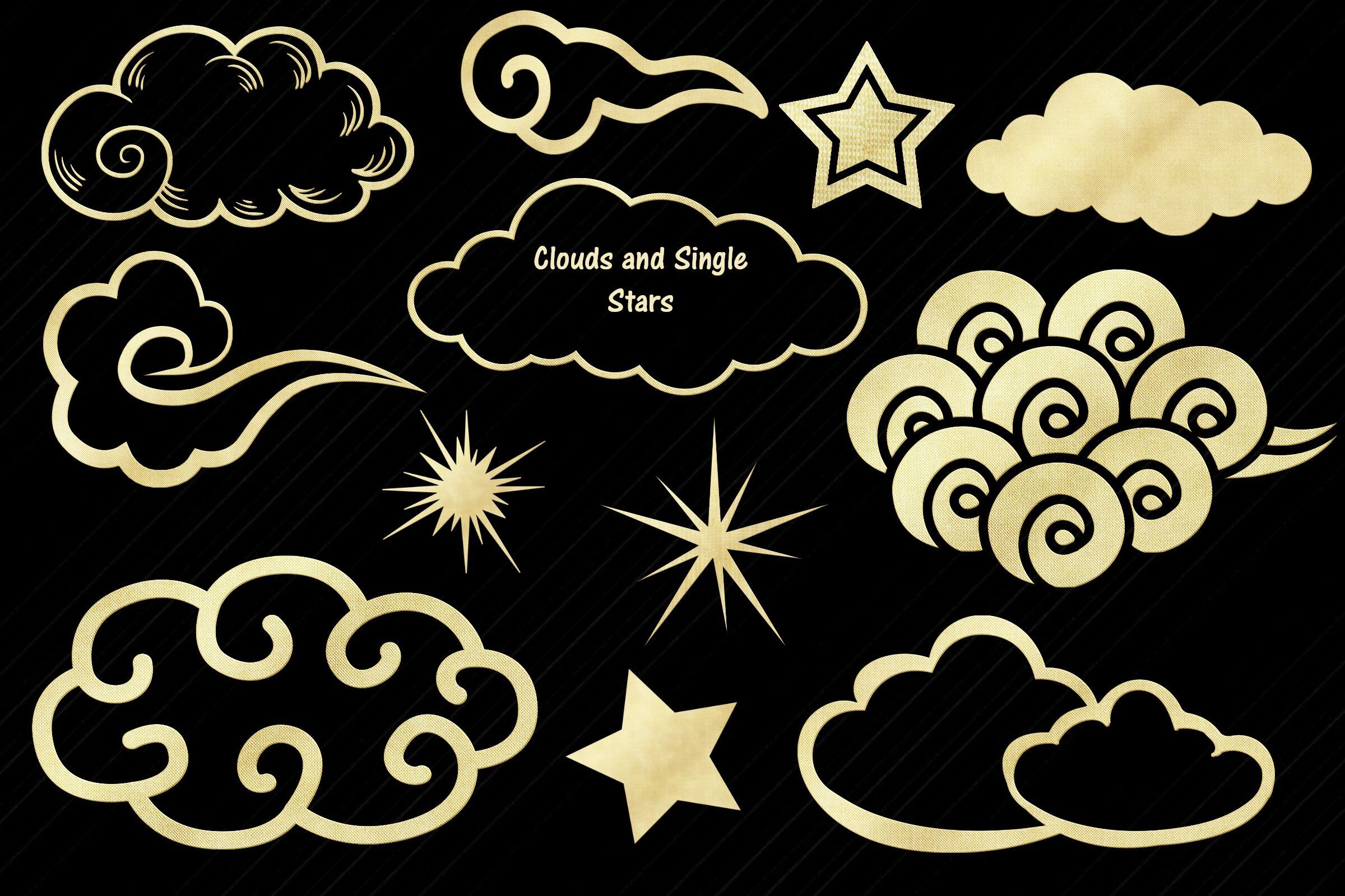 Gold Foil Sky Elements Clip Art By Me and Ameli
