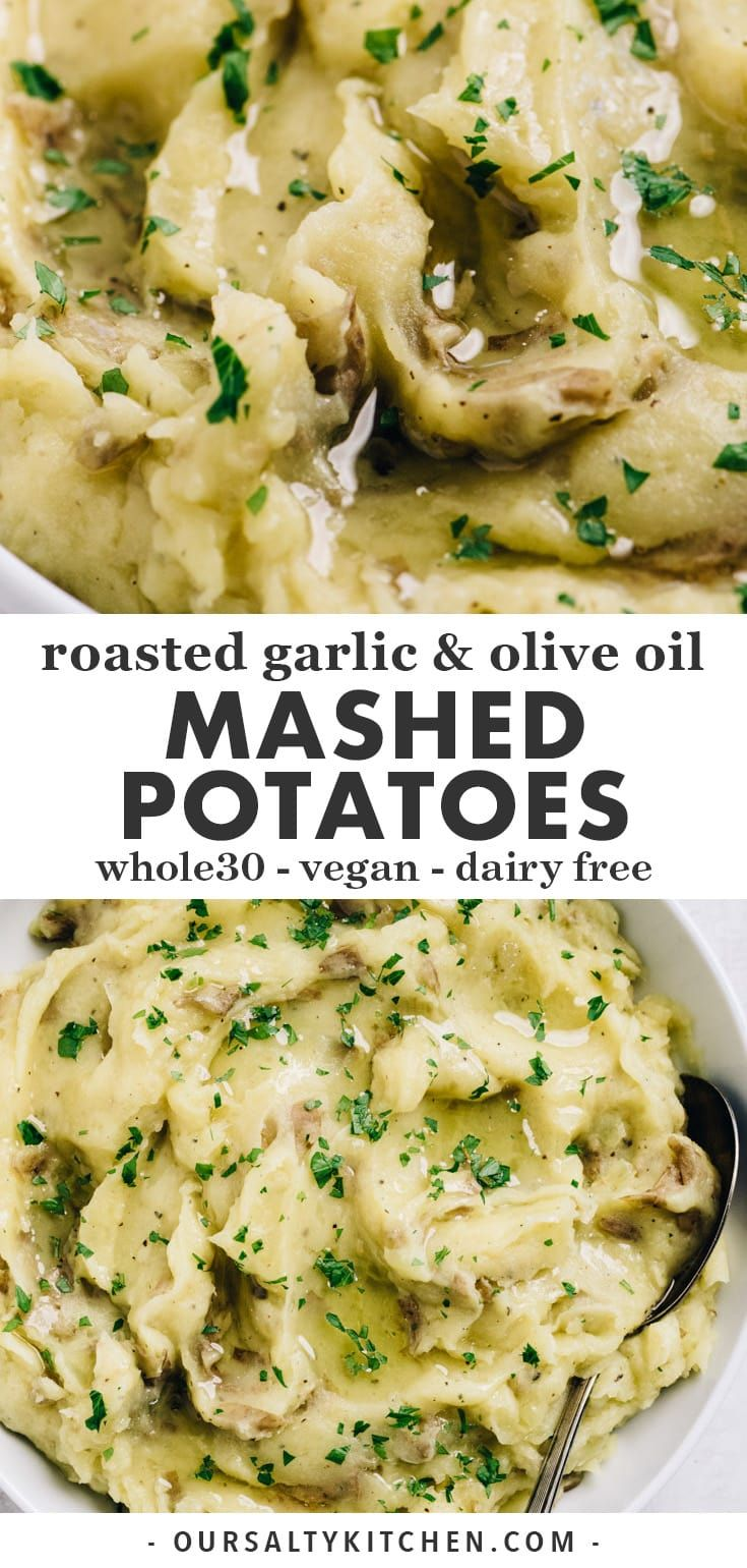 Olive Oil Mashed Potatoes with Roasted Garlic