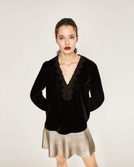 Afbeelding 2 Van Fluwelen Blouse Van Zara Velvet Blouses Zara Tops