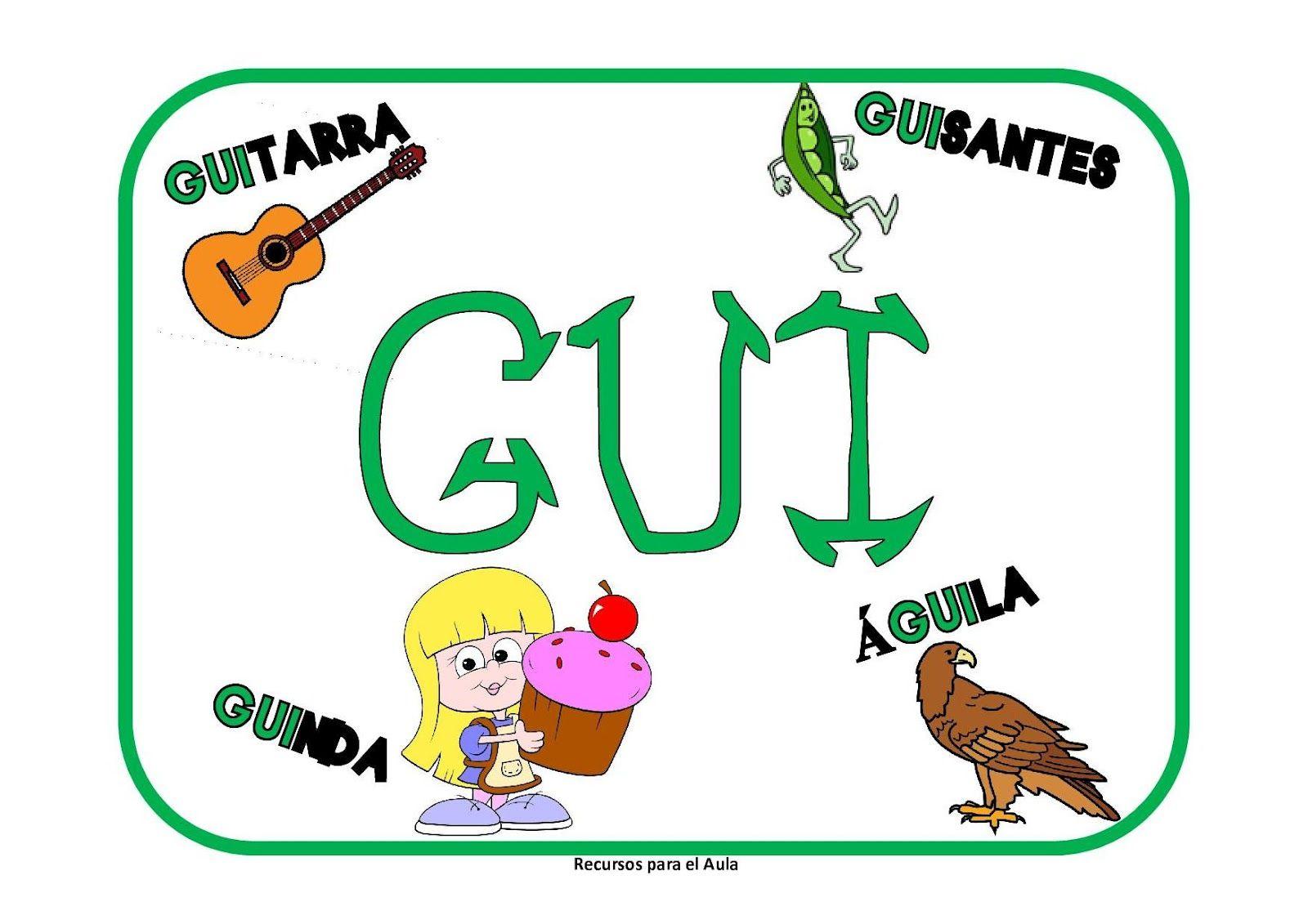 Learning Is Fun Carteles Ga Go Gu Gue Gui Güe Güi Ortografía Apuntes De Lengua Palabras Con G