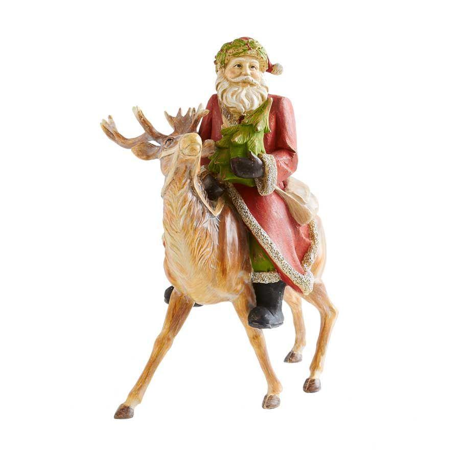 Home interior jesus figurines santa sitting on deer  christmas home accentsall seasons cottage
