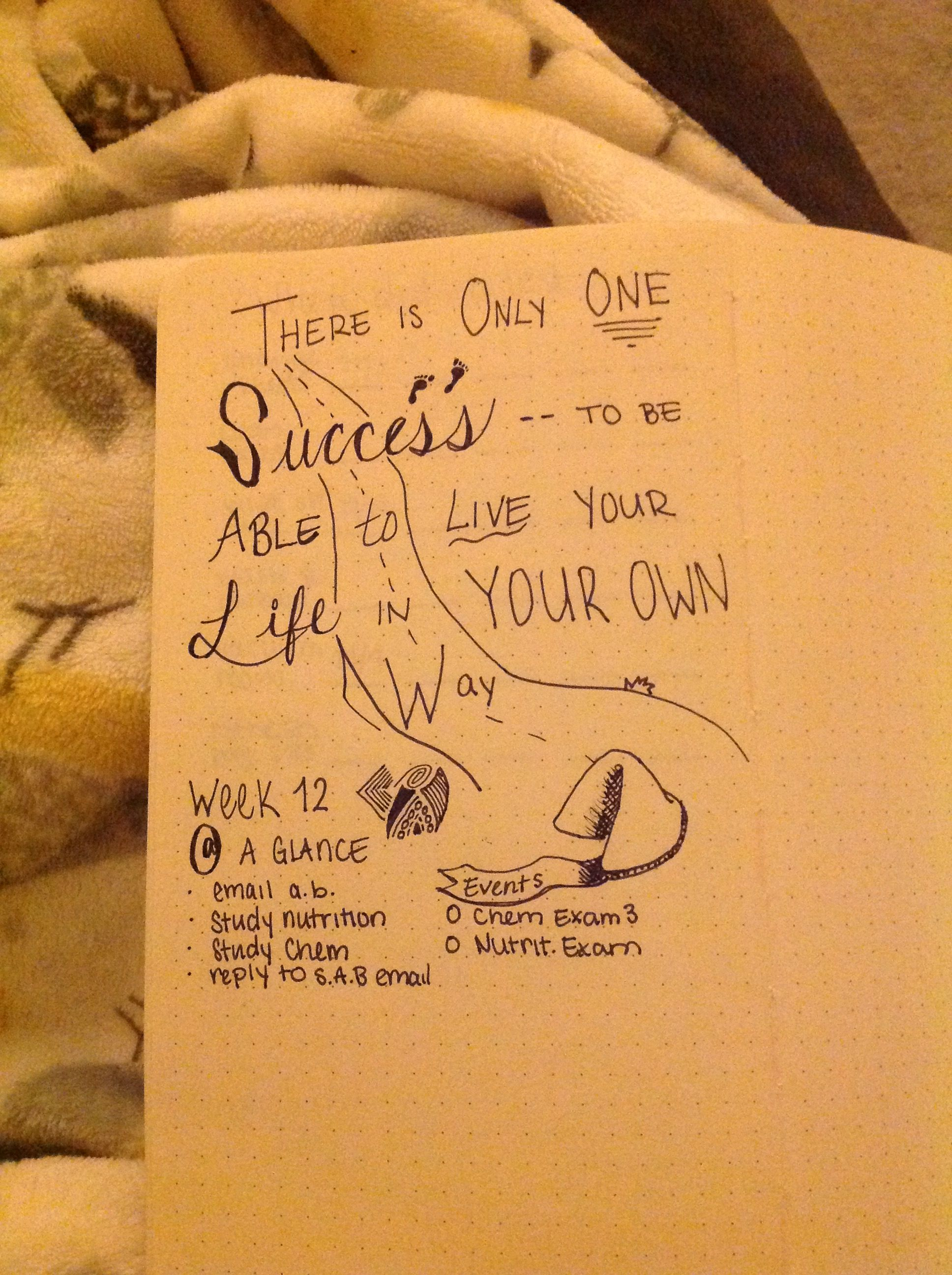 Bullet journal fortune cookie inspirational quote diy