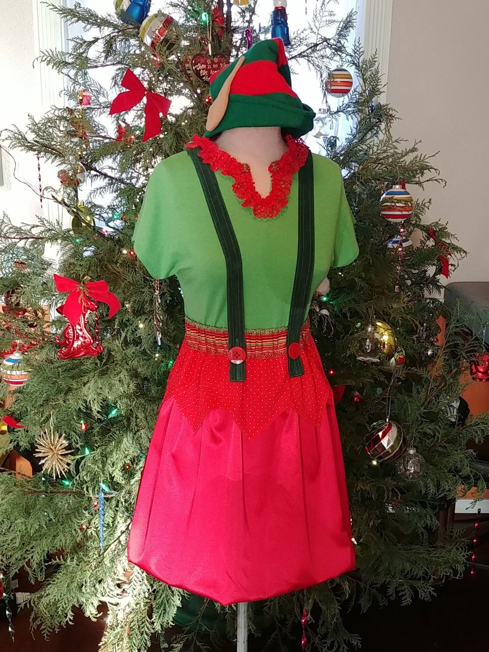 Christmas Elf Two Piece Ladies Costume Etsy Costumes For Women Women S Green Shirt Two Piece Dress