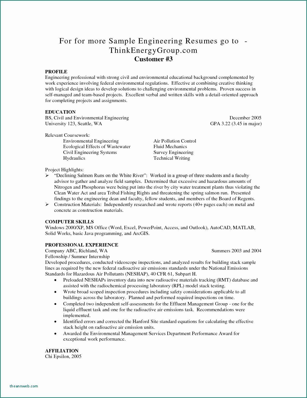 Entry level engineer resume beautiful 11 12 entry level