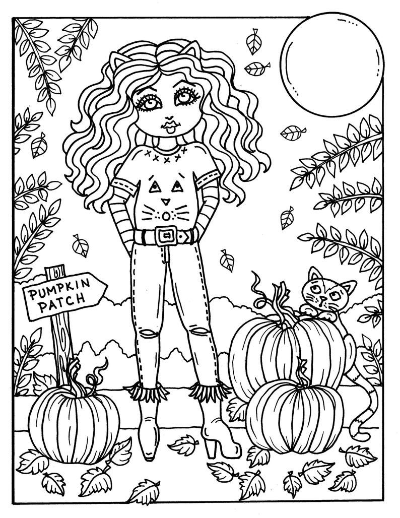 7 Pages Fall Girls Digital Coloring Pages Digi Color Page Etsy Halloween Coloring Book Coloring Pages Fall Coloring Pages