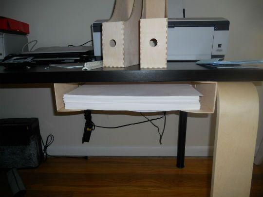 Hidden Printer Paper Storage Using Magazine Racks Mounted Under Desk 072211 Tf Knuffstorage1 Jpg Moun Under Desk Storage Paper Storage Magazine Storage Boxes