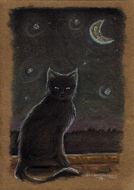 cat under moon by angelgnome, via Flickr