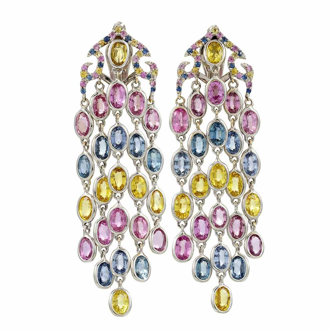 in multicolored rainbow sapphire yellow tw earrings gold