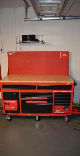 metal workbench with drawers. 11-drawer and 1-door 22 in. d mobile workbench with sliding pegboard back wall, red black metal drawers