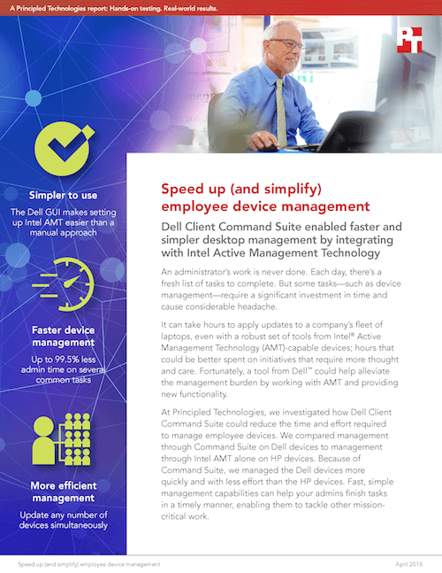 Dell Client Command Suite Enabled Faster And Simpler Desktop Management By Integrating With Intel Active Management Technology