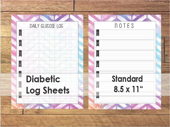 printable diabetic log sheets colorful ombre chevron filofax sizes chevron printable and