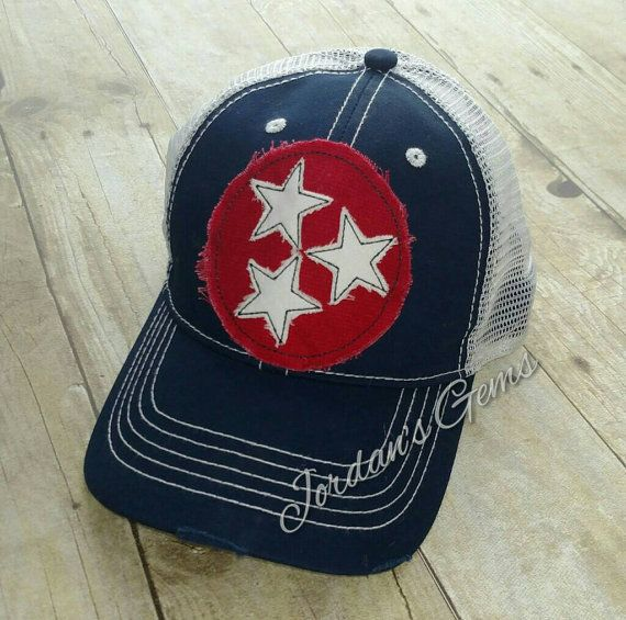 b126bf9c46e Tennessee Tristar Embroidered Red Raggy Patch Distressed Navy and ...