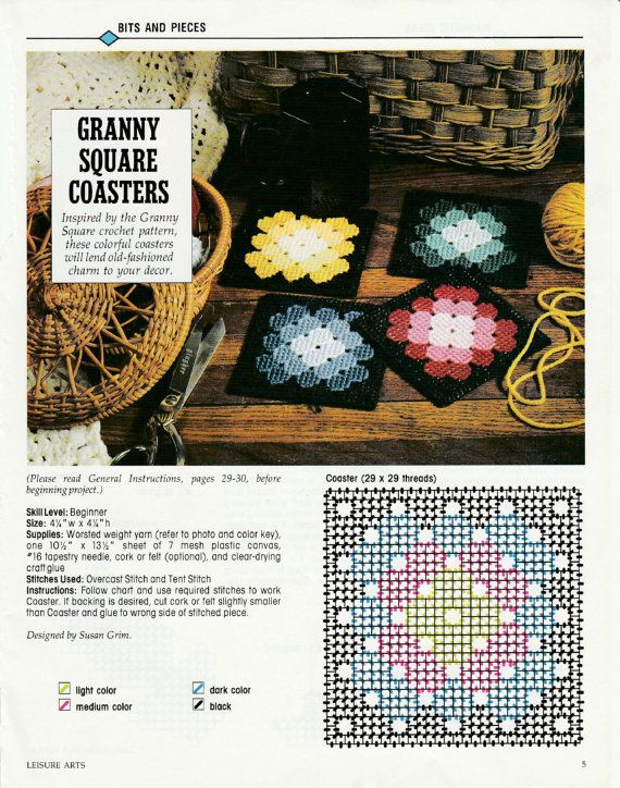 Granny Squares Coasters In Plastic Canvas Plastic Canvas Crafts Plastic Canvas Coasters Plastic Canvas Patterns