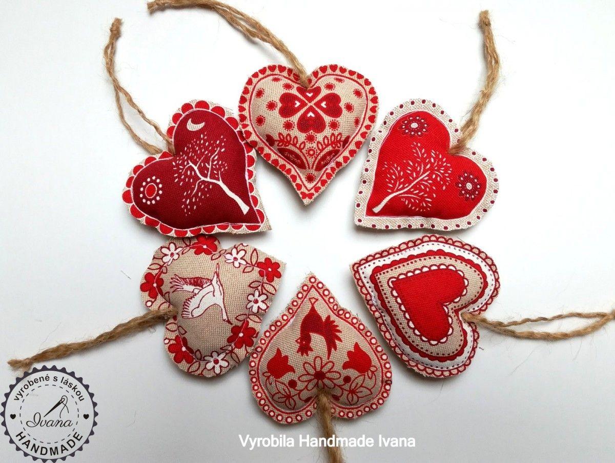 Textilné závesné vianočné srdiečka | Dekorácie na zavesenie ...