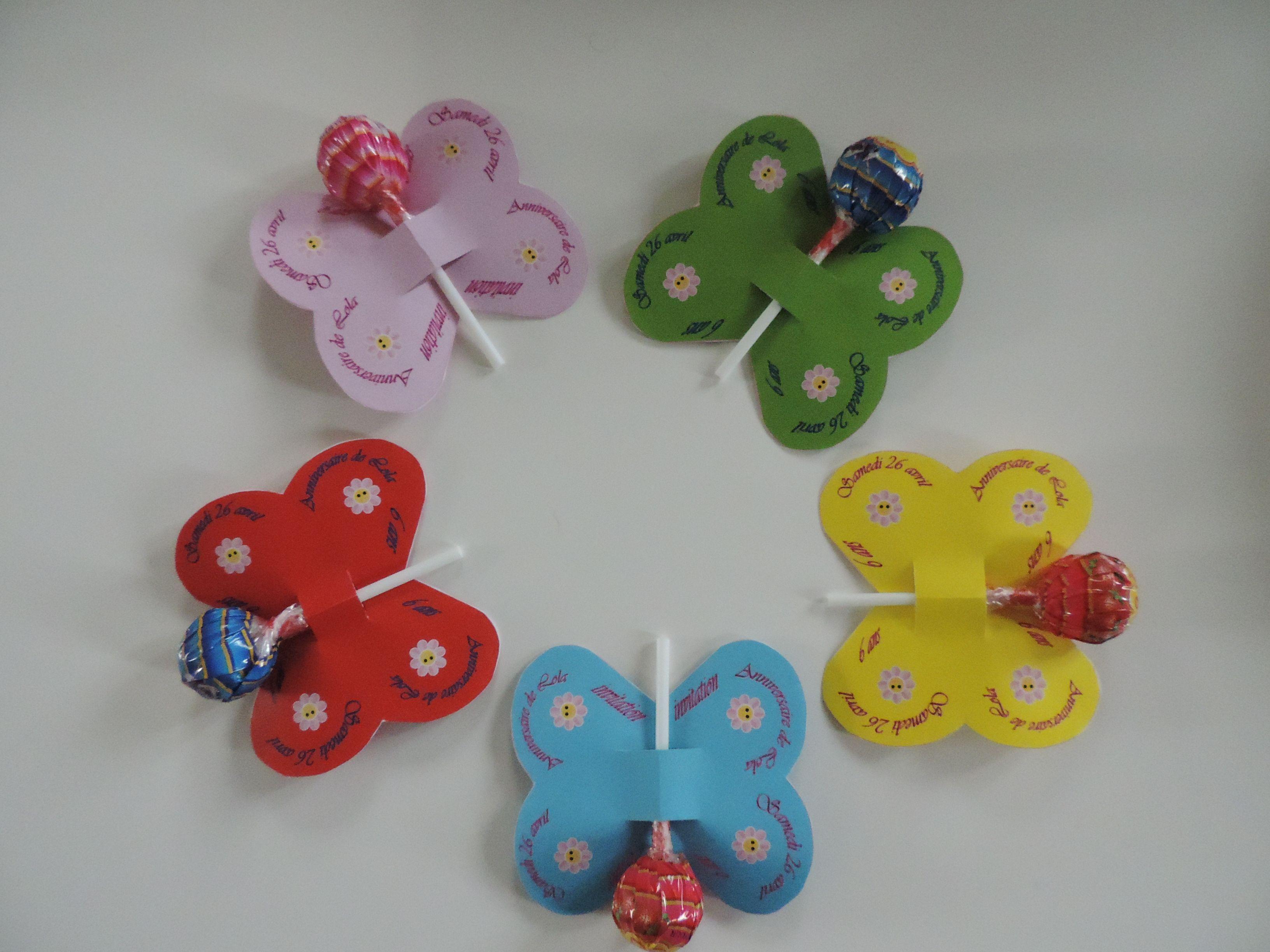 Super Invitation anniversaire : Papillon - sucettes | Aadya | Invitation YQ-82