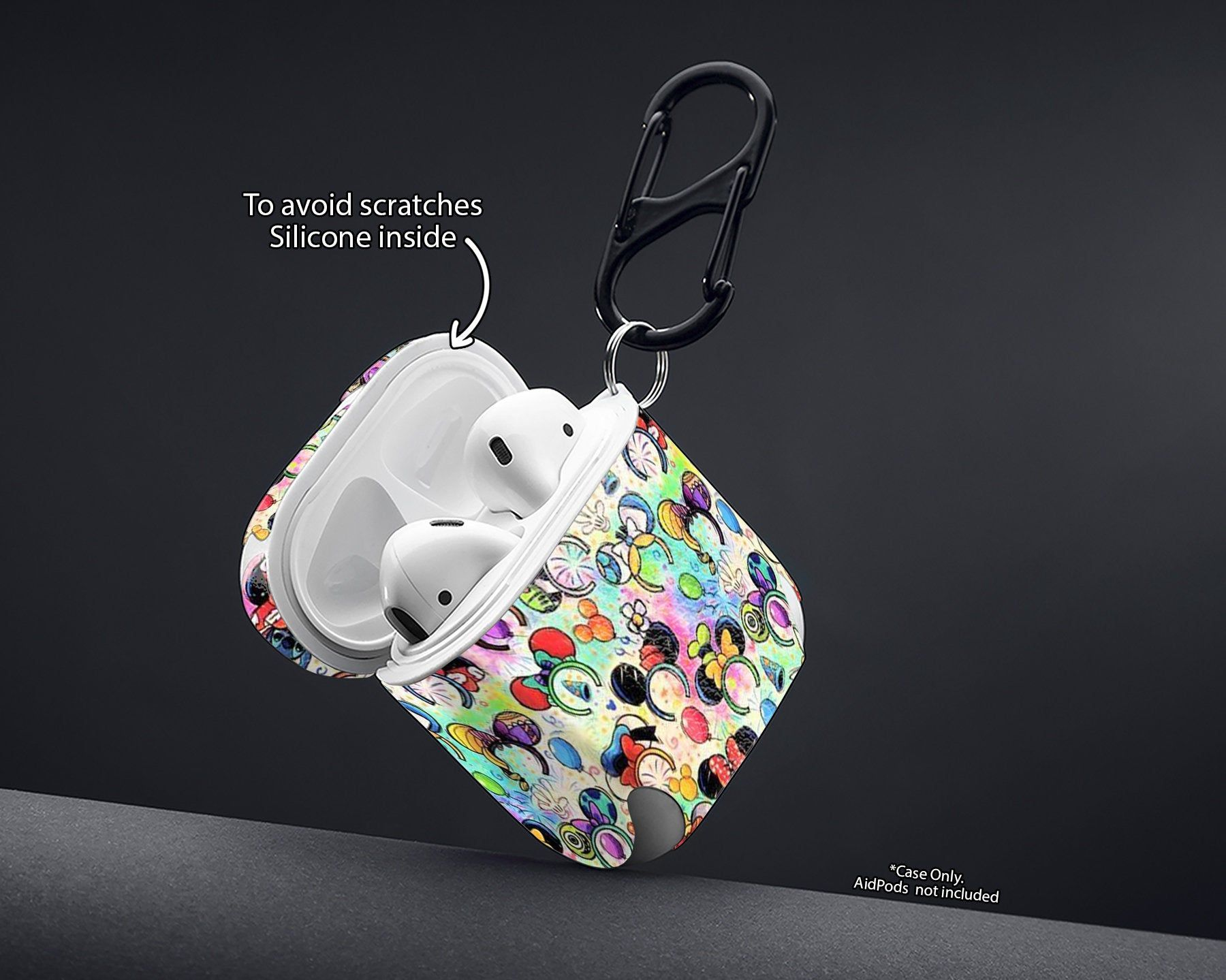 Case for AirPods Case with Keychain  Airpod Cover Airpods Pouch Airpods Holder Case Wireless Earphones Carrying AirPods case keyring