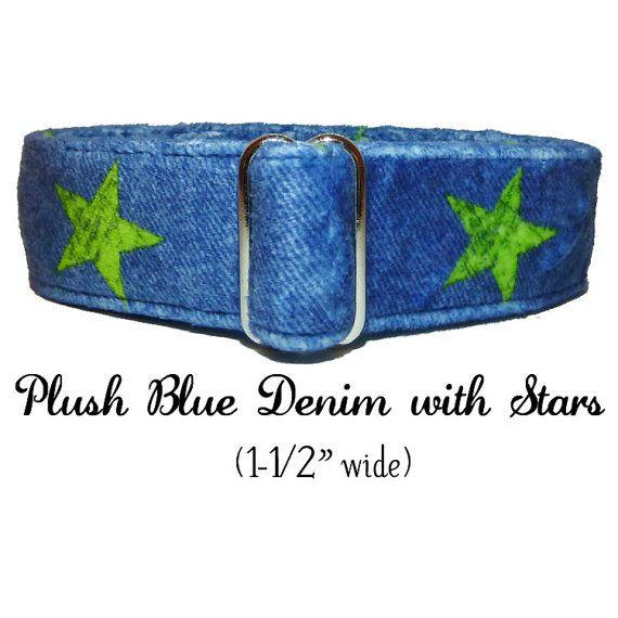 Plush Blue Denim with Lime Stars  by LuigisFineDogCollars on Etsy