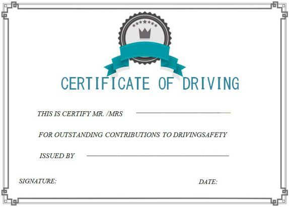 Driving Safety Course Safe Driving Certificate Template