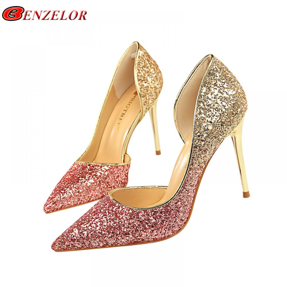 BENZELOR Sequins Pointed Toe Shoes Women Pumps Woman Luxury Bling High  Heels Female Ladies Sexy Party cf7f56ff8a2a