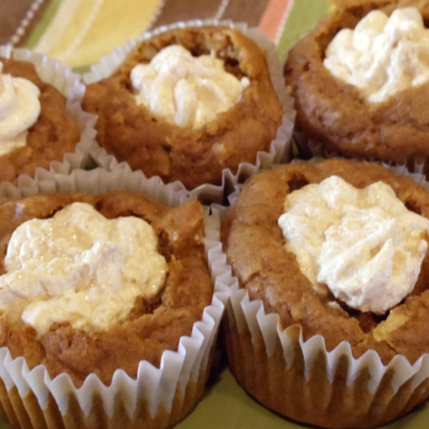Pumpkin Muffins filled with Spiced Marshmallow Cream Recipe | Just A Pinch Recipes
