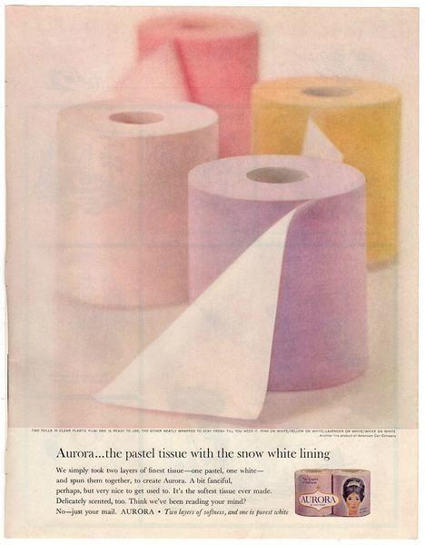 Vintage Aurora Toilet Tissue Magazine Print Ad 1963 Toilet Paper Advertisement Bathroom Decor Vintage Advertising Art Vintage Toilet Vintage Ads