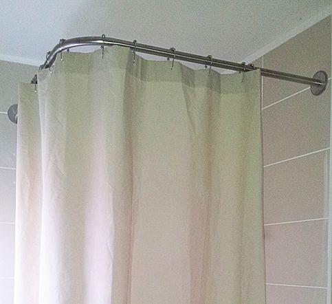Barre rideau de douche d 39 angle galbobain pour bac de douche carr 100x100 galbobain et les - Barre rideau de douche ventouse ...