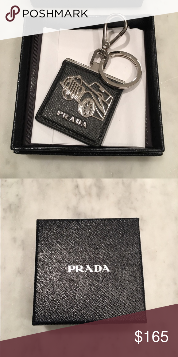 8d4b8d4f359c9 Prada key Holder Brand new, Prada key holder, Saffiano leather keychain  with metal logo steel hook and split ring Prada Accessories Key & Card  Holders