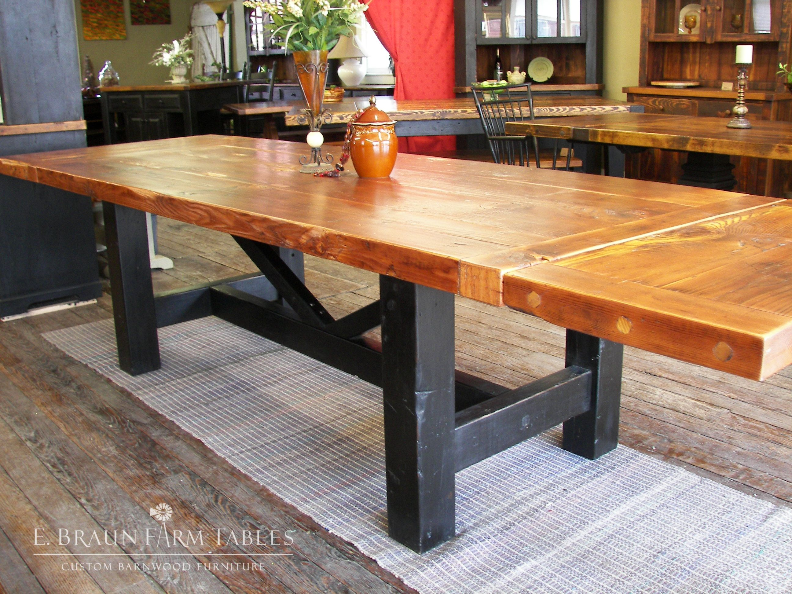 3 Top Fir Crossbuck Trestle Farm Table With Satin Finish And