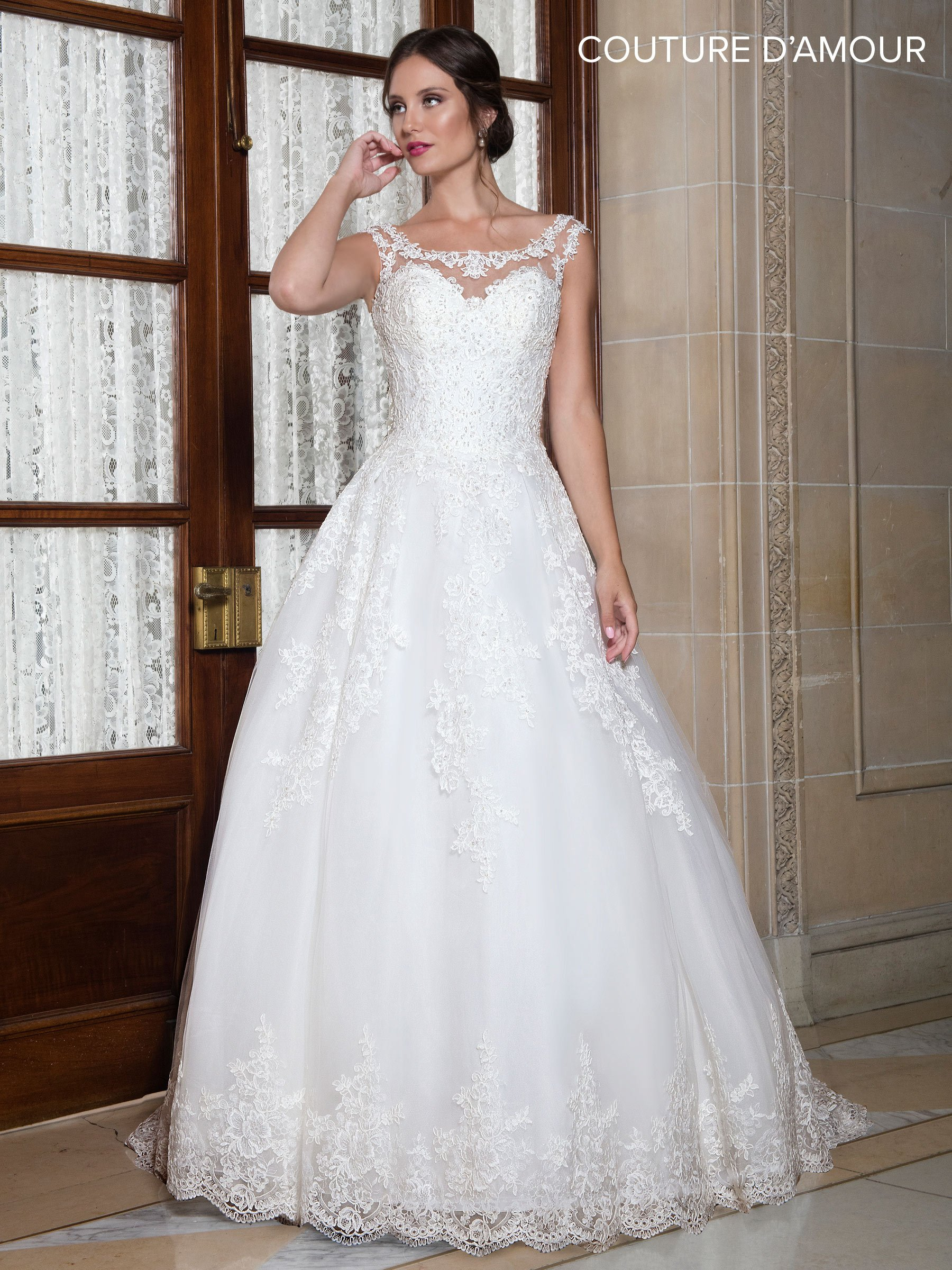 Illusion lace wedding dress  Scoop Neck Illusion Lace Wedding Dress by Maryus Bridal MB in