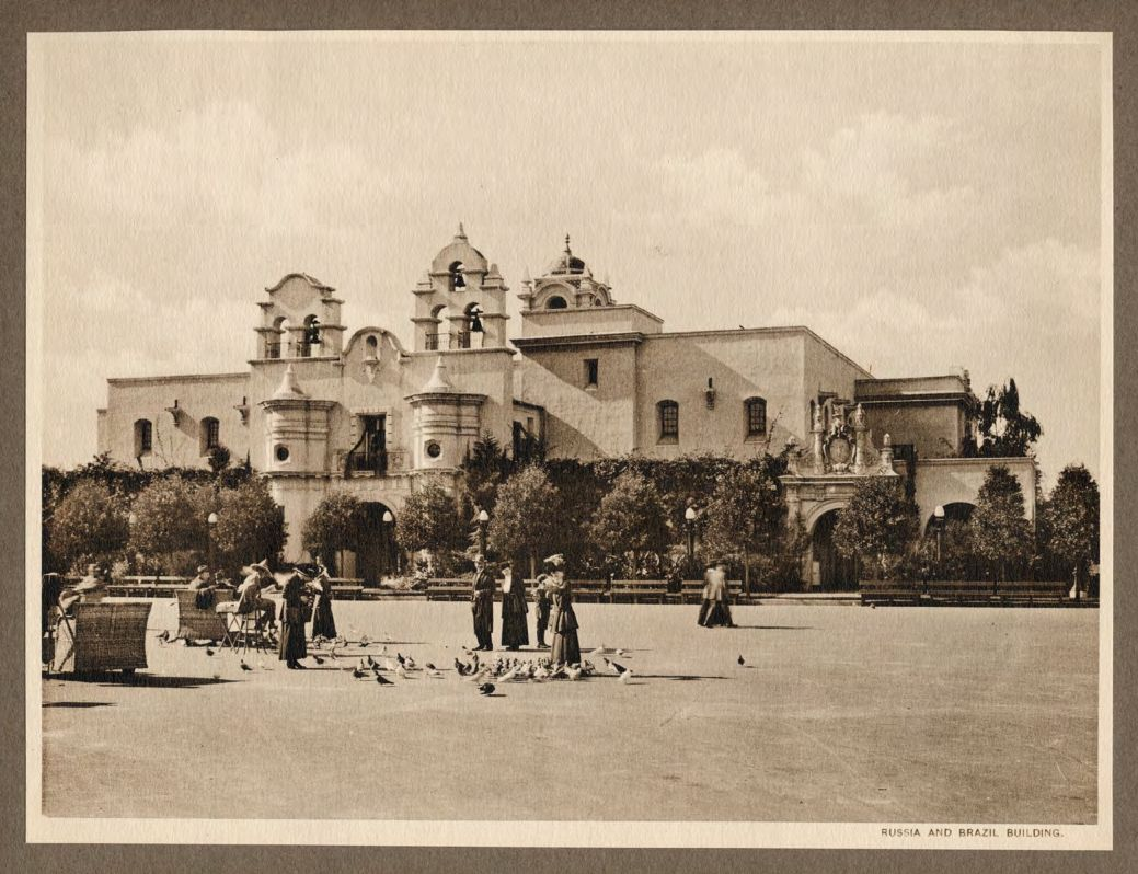 Panama-California Expo 1915 - Russia and Brazil Building (http://www.balboapark.org/sites/default/files/albertype_bw_1916_small.pdf)