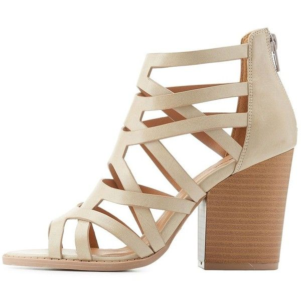 cfa56d04ef0c Qupid Caged Chunky Heel Sandals ( 45) ❤ liked on Polyvore featuring shoes