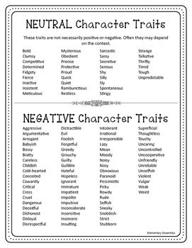 Character Traits vs Character Emotions Adjective Lists