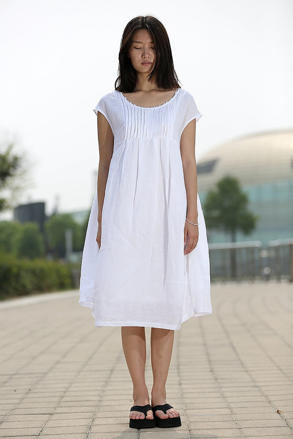0f39a6caccd8 White Cotton Boho Dress - Cool Loose-Fitting Midi Length Summer Floaty Dress  with Pintucks and Cap Sleeves C260