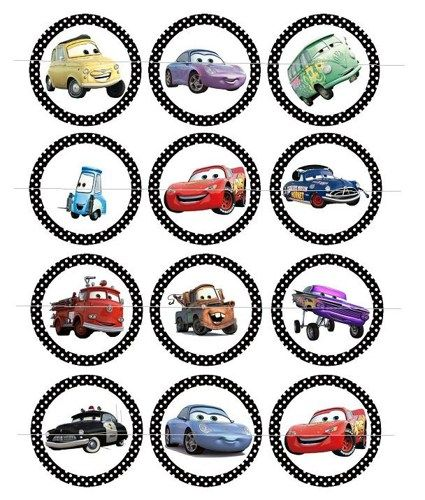 Circles 2 Inch Free Google Search Cars Cupcakes Cars Birthday Party Disney Disney Cars Birthday