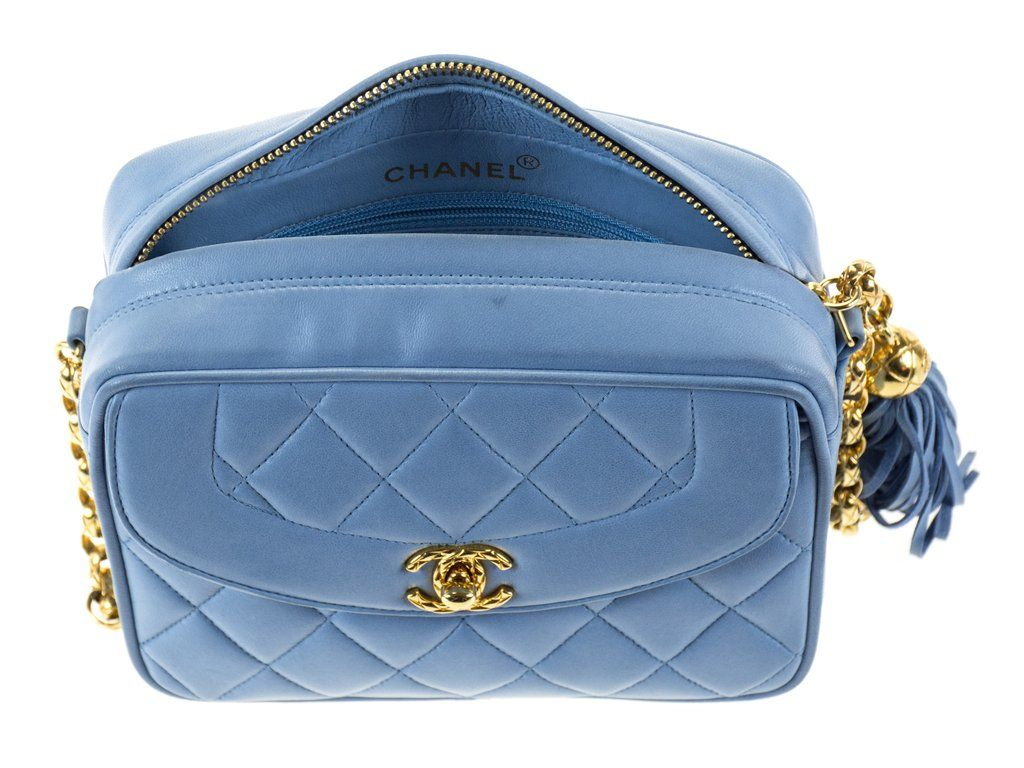 Chanel Vintage Blue Camera Bag Chanel Consignment