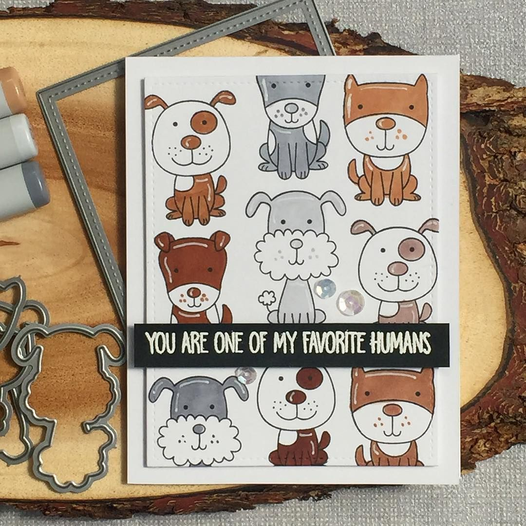card critters dog dogs MFT Four-legged Friends Die-namics #mftstamps Playful pups collage.