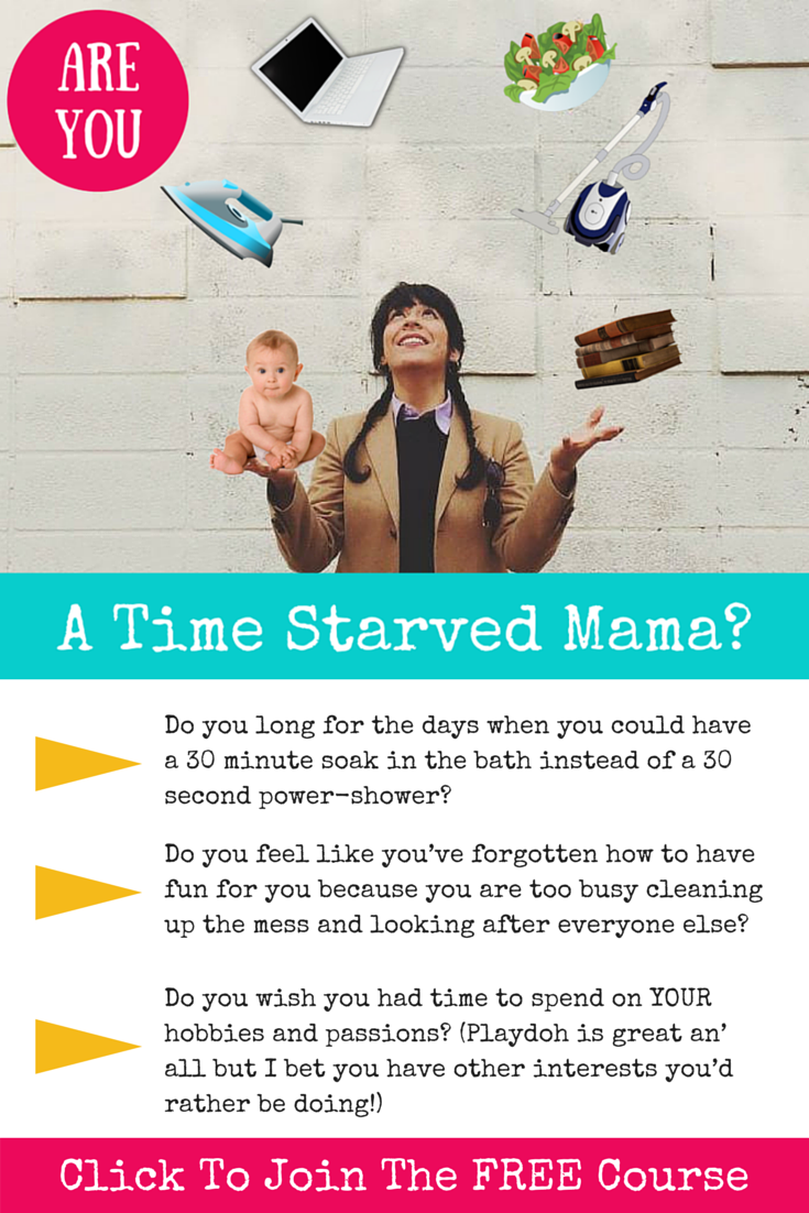 Grab a spot on the free course (teeny bite size pieces but pack a big punch!) http://www.my-organized-chaos.com/are-you-a-time-starved-mama/