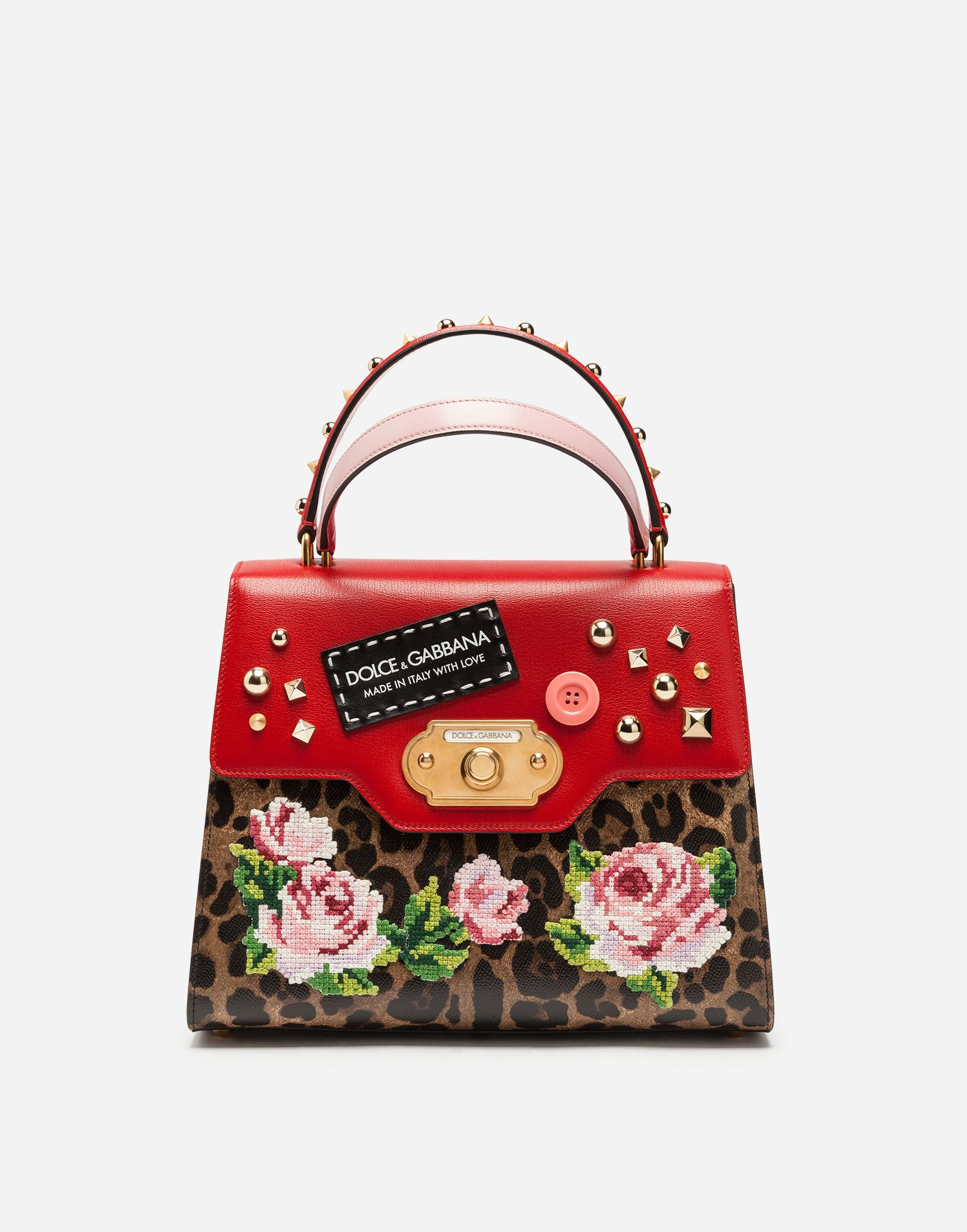 DOLCE   GABBANA WELCOME BAG HANDBAG IN TWO MATERIALS WITH EMBROIDERY.   dolcegabbana  bags  shoulder bags  hand bags  rayon  leather  cotton   ccdbcbbf7ec87