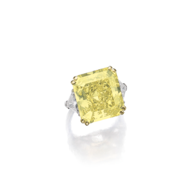 Fancy intense yellow diamond ring - Sotheby's  The fancy intense yellow cut-cornered rectangular mixed cut diamond weighing 21.73 carats, set with triangular diamond shoulders, size 521/2.