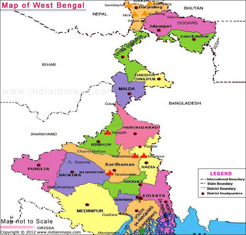 West Bengal | West Bengal State Map | Map, West bengal, Location map