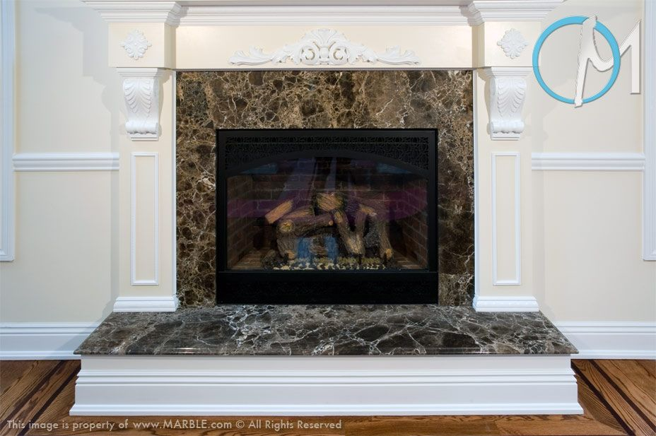 Fireplace Emperador Dark Marble I think it would look better