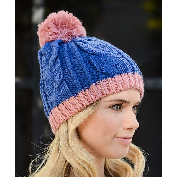 fd7c782fb03 Leto Collection Royal Blue   Pink Pom-Pom Beanie (9.19 CAD) ❤ liked on  Polyvore featuring accessories