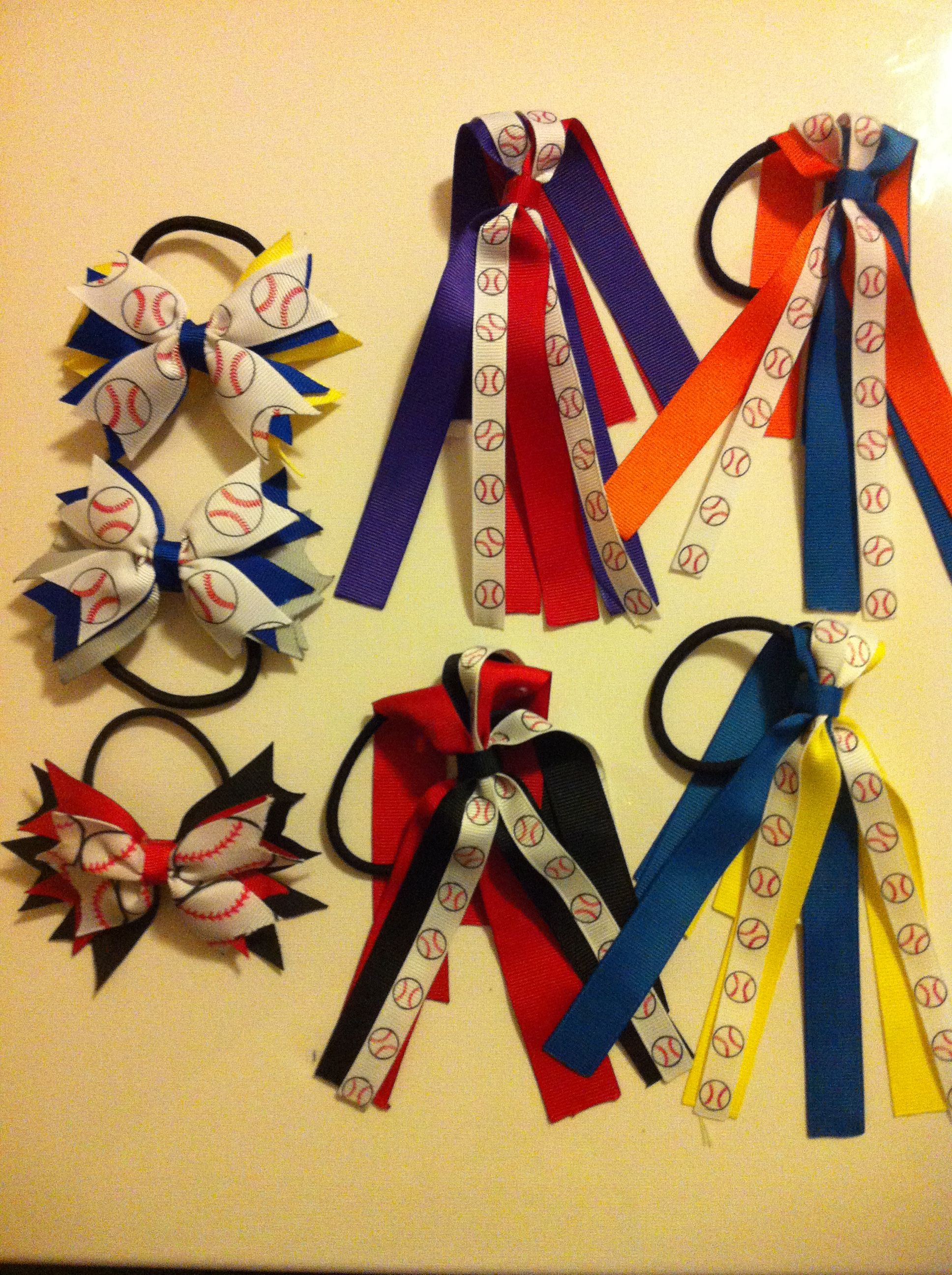 foto de Softball bows n streamers keywestbowlady Softball hair bows