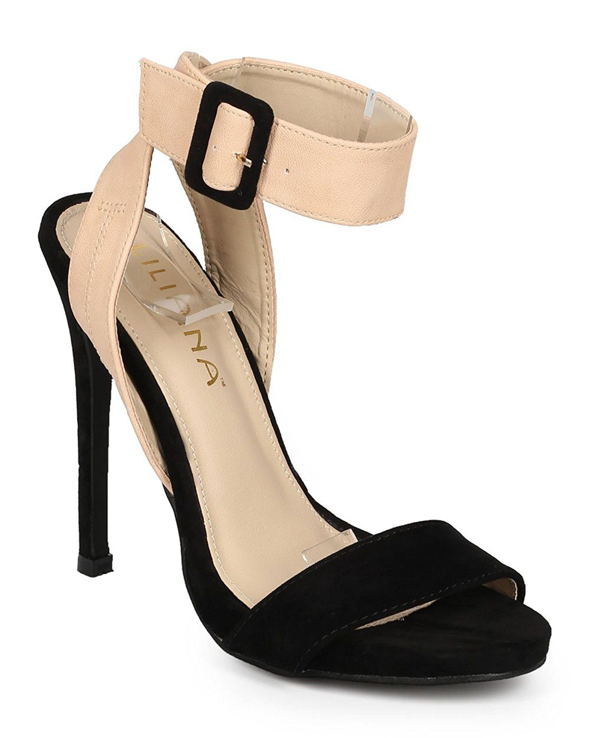 3985641f8c0737 Liliana CH43 Women Suede Open Toe Cross Back Ankle Strap Stiletto Sandal -  Black   Check this awesome product by going to the link at the image.