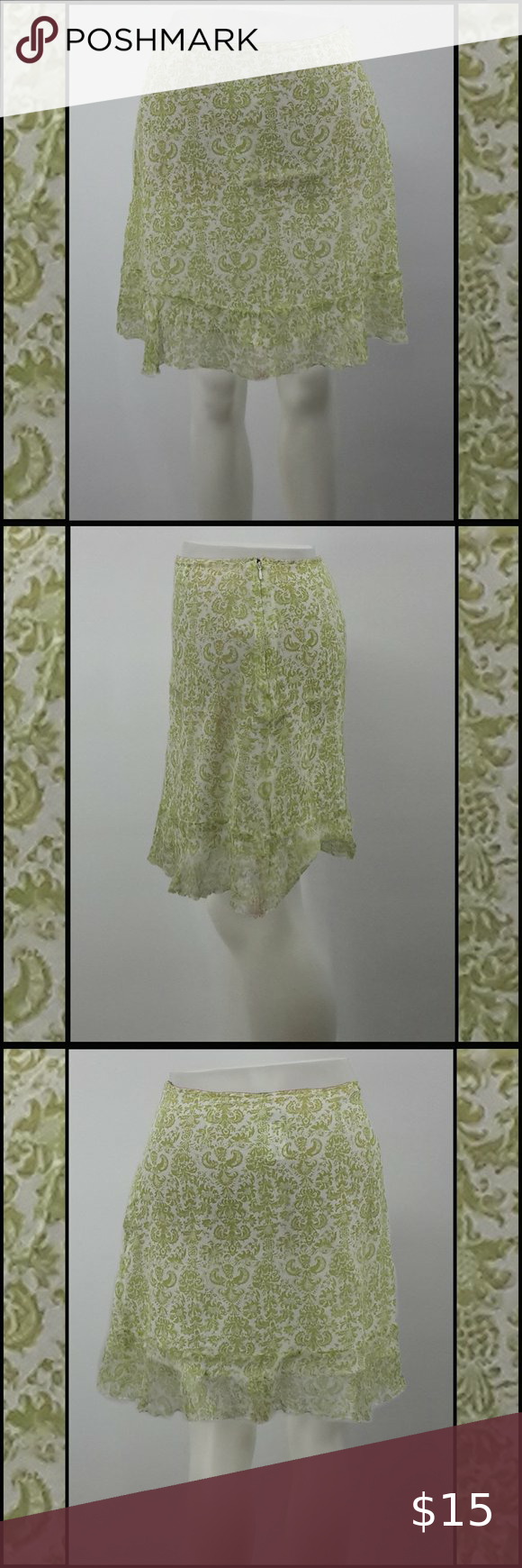 Jaclyn Smith Green Pattern Skirt Size 12 Blue Floral
