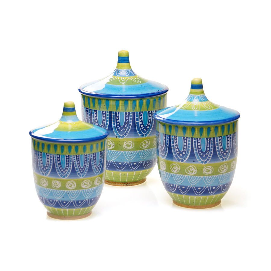 Kitchen Canister Set 3 Piece Ceramic Sugar Coffee Storage Lids ...