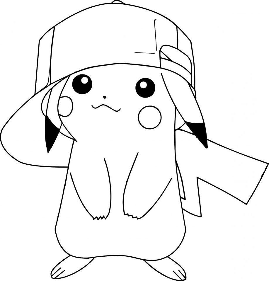 Pikachu Para Colorear Con Gorra Dibujo De Pikachu Pikachu Con