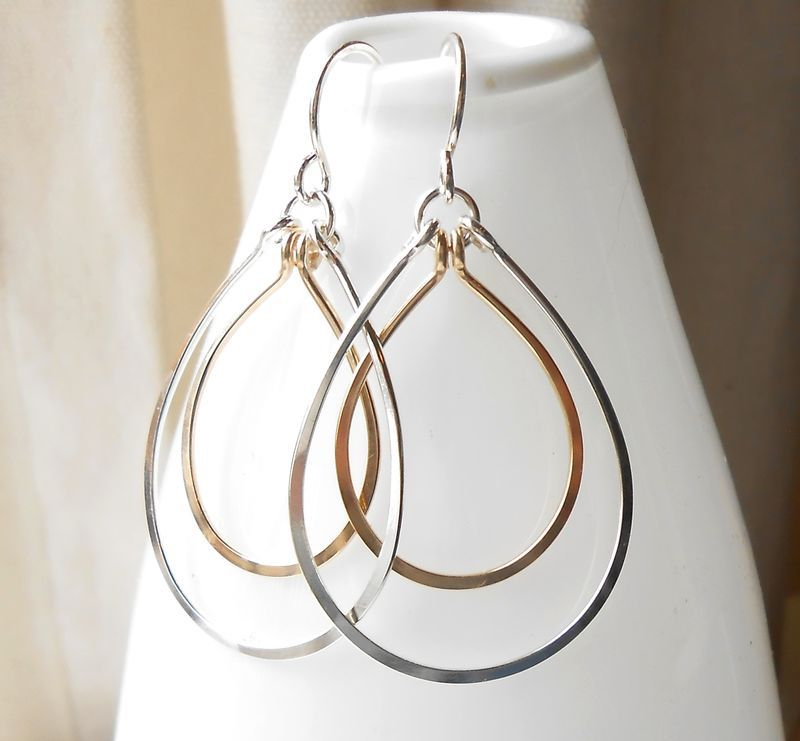 Silver And Gold Hoop Earrings, Sterling Silver and Gold Filled ...