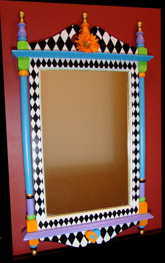 Large Wall Mirror Whimsical Hand Painted Wood Funky Painted Furniture Whimsical Furniture Whimsical Painted Furniture