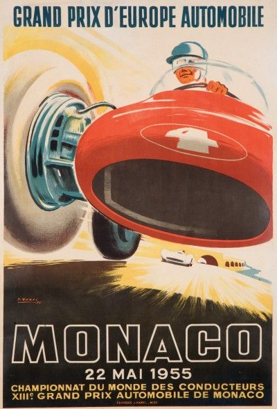 1955 Monaco Grand Prix Automobile Race Car Advertisement Vintage Poster